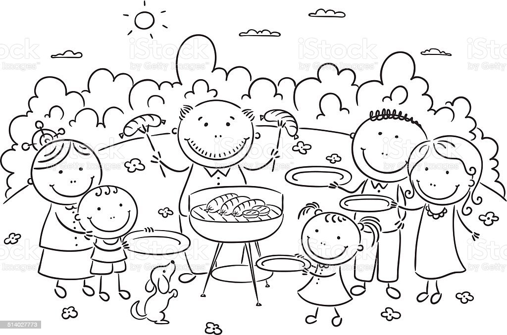 Family having picnic outdoors vector art illustration