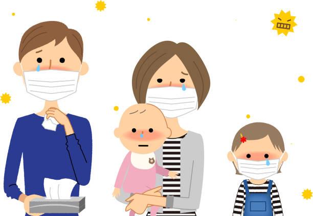 家族, 花粉症 - くしゃみ 日本人点のイラスト素材/クリップアート素材/マンガ素材/アイコン素材