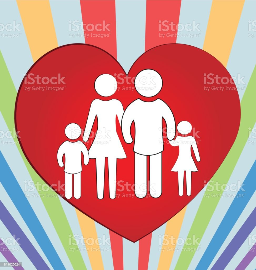 Family Heart Love Concept Of Unity Background Stock Vector Art