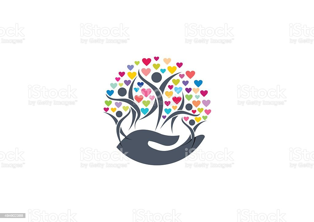 Family hearts vector art illustration