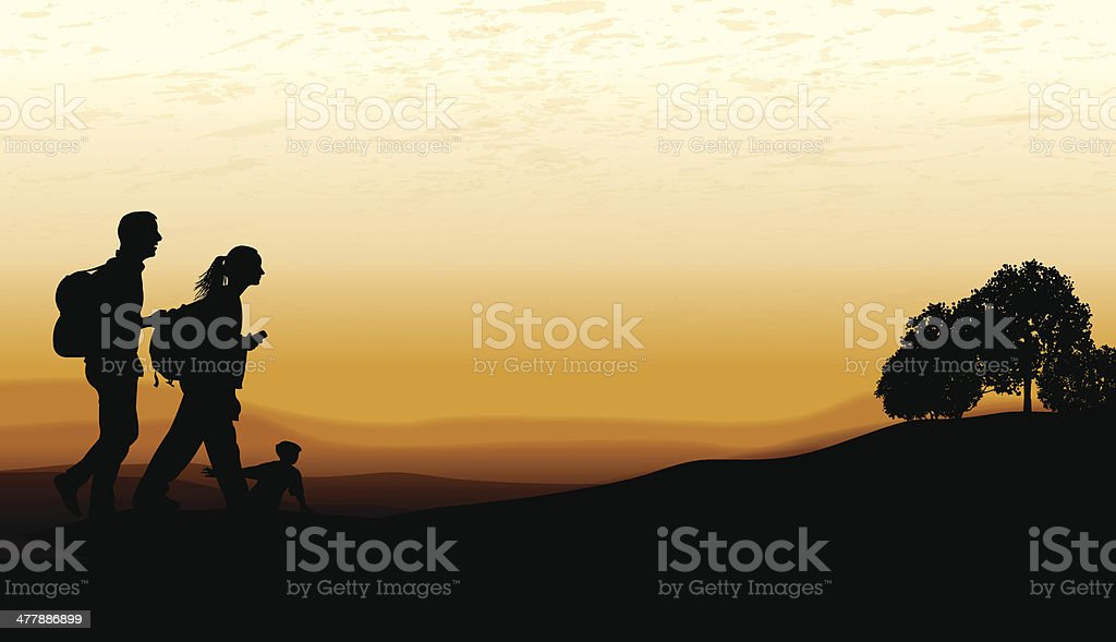 Family Hike at Twilight royalty-free family hike at twilight stock vector art & more images of adventure