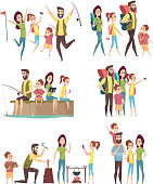 Family hiking. Couples with kids exploring travellers tourists happy adventure in mountains camping vector characters. Adventure tourism family, outdoor picnic and activity trekking illustration