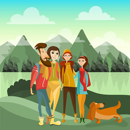 Family Hiking In Mountains Concept Vector Poster In Flat Style Cartoon People Characters Family