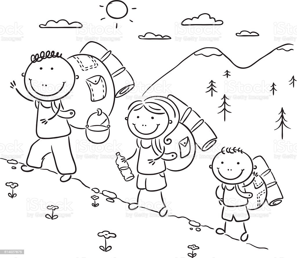 Famiglia Escursioni In Montagna Immagini Vettoriali Stock E Altre