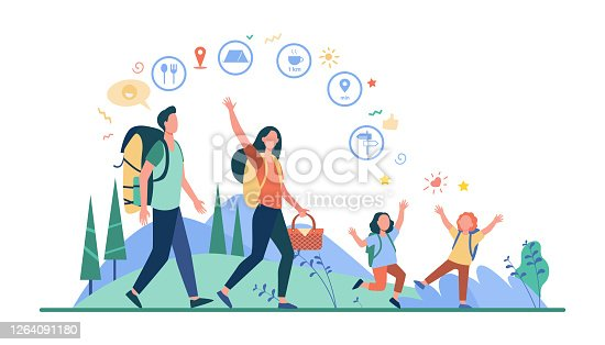 istock Family hiking or location app concept 1264091180