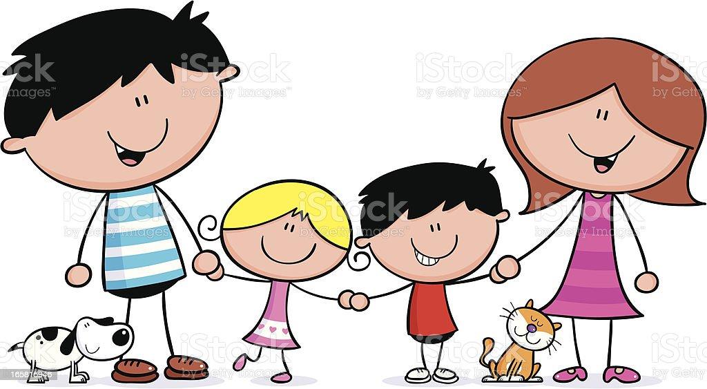 Family hold hands vector art illustration