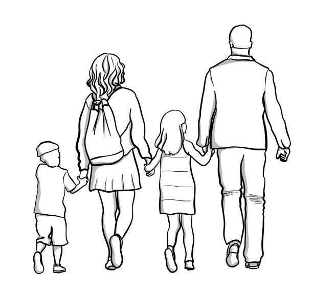 Family Holding Hand vector art illustration