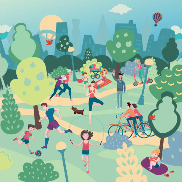 Family holiday on nature. Aerialview of city park with people. Summer sport and recreation panoramic landscape vector art illustration