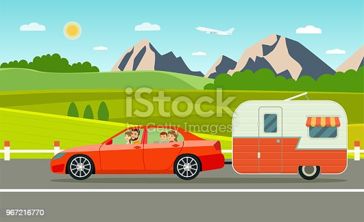 family holiday. Travel trailer and sedan. Forest and mountain landscape. Vacation poster concept. Flat style vector illustration