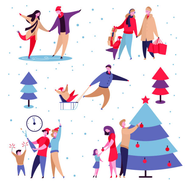 Family holidays set Modern cartoon flat characters family winter holidays,happy new year concept set.Flat small people happily decorating Christmas tree,celebrating holiday,shopping,carry gift boxes,ice skating,sledding christmas family stock illustrations