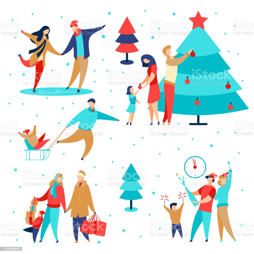 Family holidays set2 royalty-free family holidays set2 stock illustration - download image now