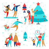 Modern cartoon flat characters family winter holidays,happy new year concept set.Flat small people happily decorating Christmas tree,celebrating holiday,shopping,carry gift boxes,ice skating,sledding
