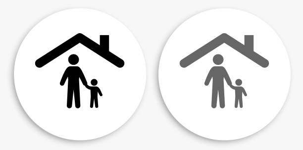 Family & Home Black and White Round Icon vector art illustration
