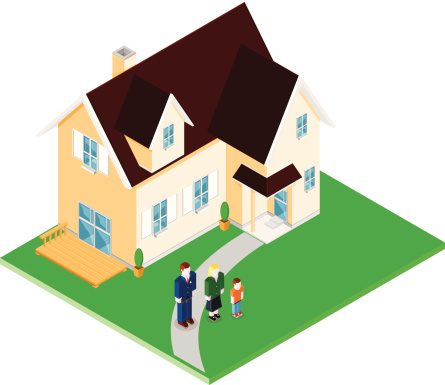 Family Home Icon Illustration