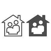 Family home line and solid icon. Couple simple silhouette in house symbol, outline style pictogram on white background. Relationship sign for mobile concept and web design. Vector graphics