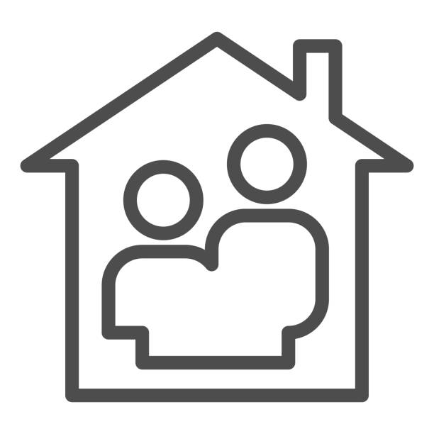 Family home line icon. Couple simple silhouette in house symbol, outline style pictogram on white background. Relationship sign for mobile concept and web design. Vector graphics. Family home line icon. Couple simple silhouette in house symbol, outline style pictogram on white background. Relationship sign for mobile concept and web design. Vector graphics architecture clipart stock illustrations
