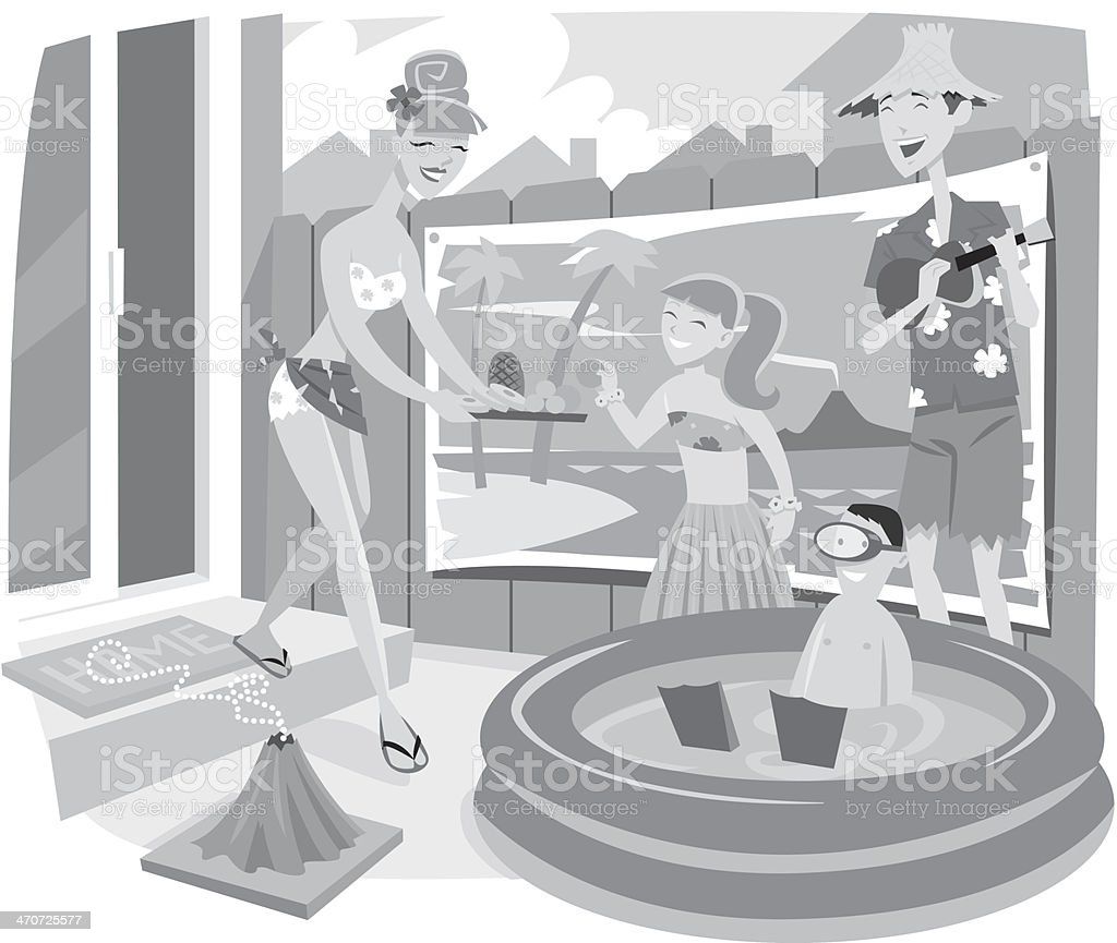 Family Home Vacation vector art illustration