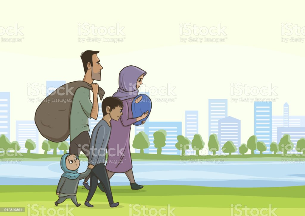 Family homeless or refugees, a man and a woman with children in the big city. Vector illustration with copyspace. vector art illustration