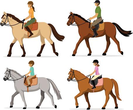 family horseback riding