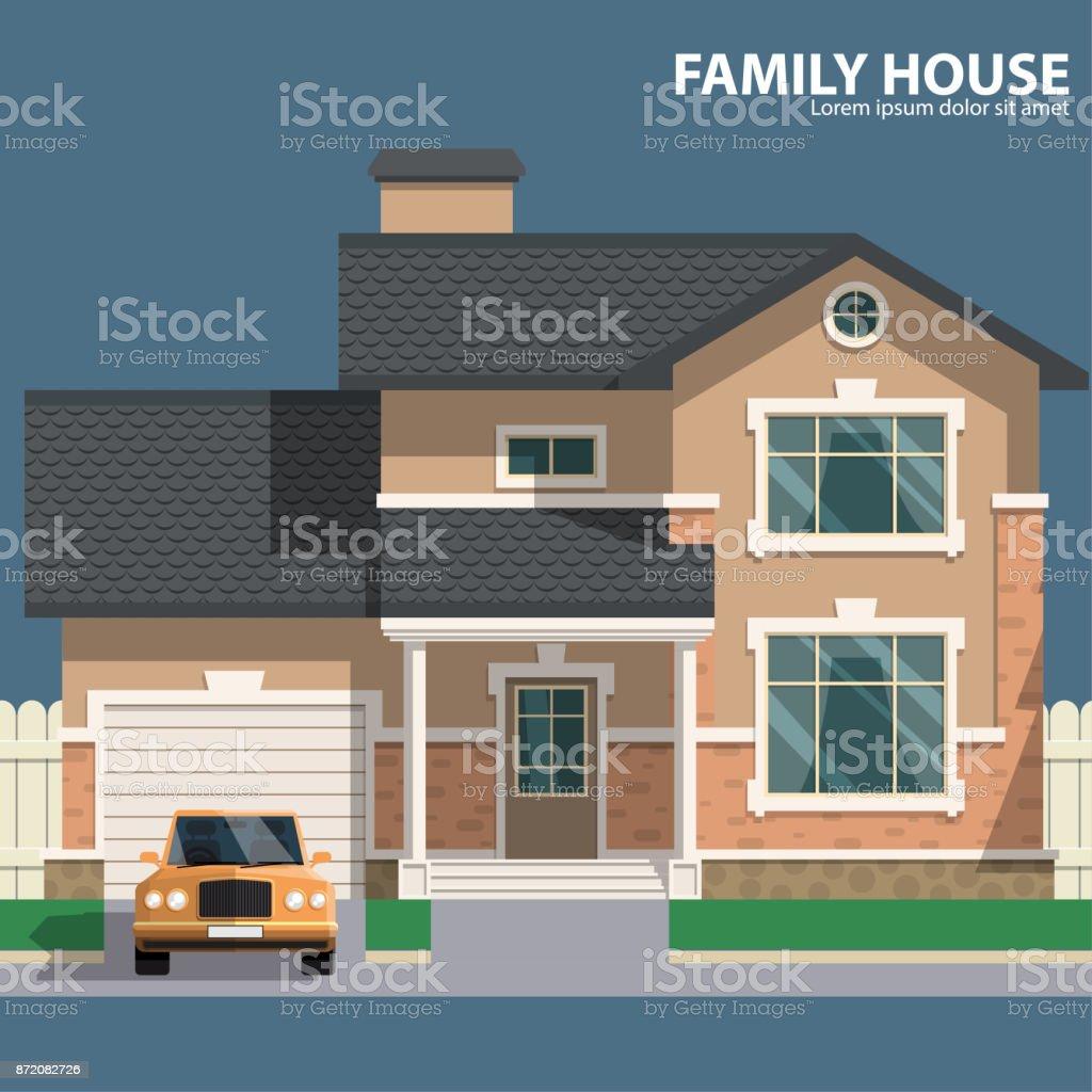 Familie Haus Und Auto Heim Und Herd Flaches Design Für Ihr Projekt ...
