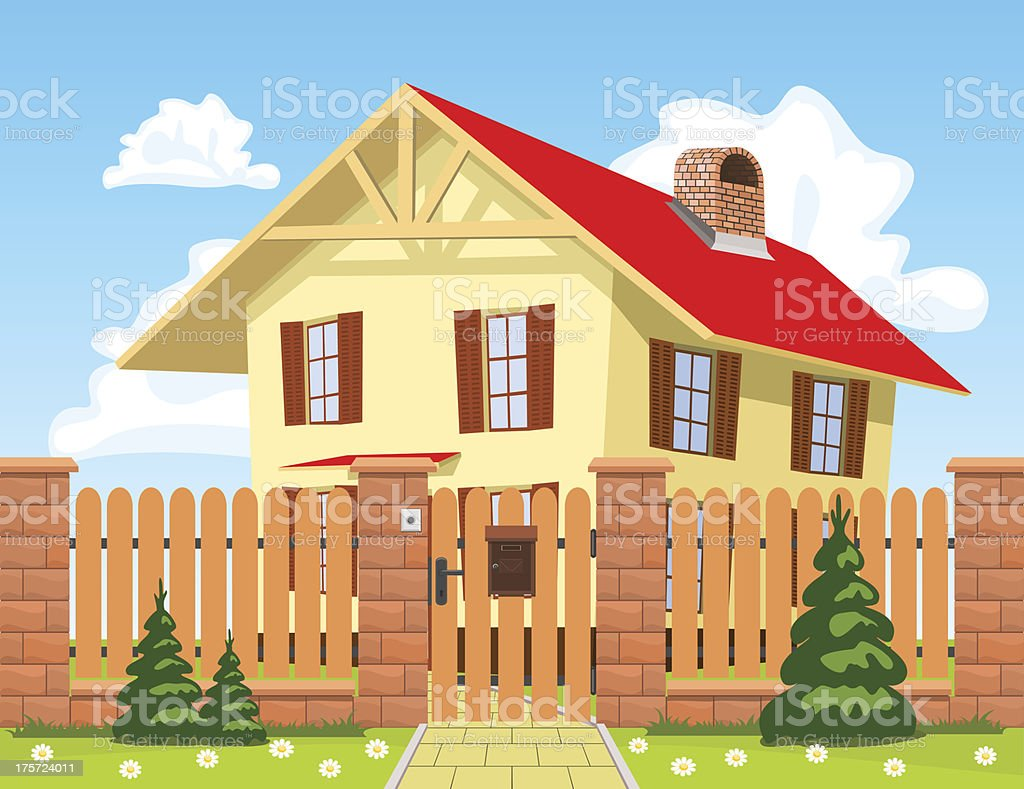 Family house behind the wooden fence royalty-free stock vector art