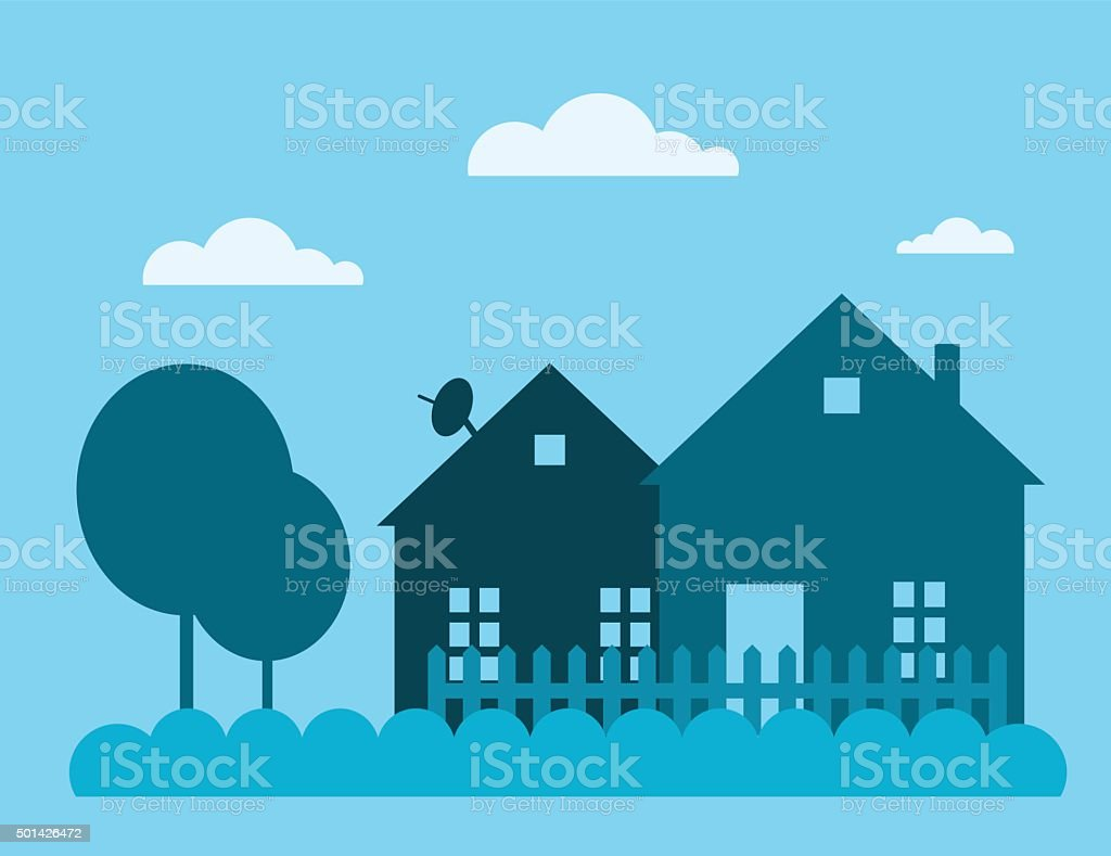 Family house building vector illustration vector art illustration
