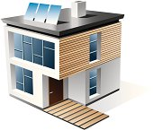 Isolated 3d vector icon of modern family house with wood facade. Check my portfolio for more building types. AI file included.