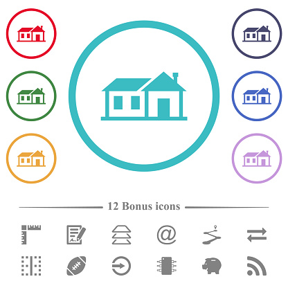 Family house flat color icons in circle shape outlines