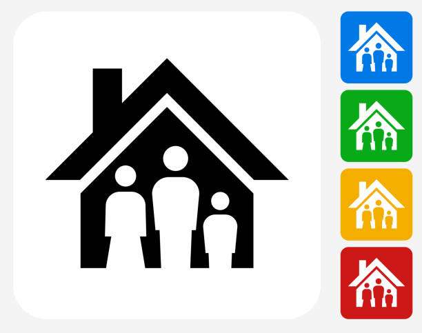 Family House Icon Flat Graphic Design Family House Icon. This 100% royalty free vector illustration features the main icon pictured in black inside a white square. The alternative color options in blue, green, yellow and red are on the right of the icon and are arranged in a vertical column. sheltering stock illustrations