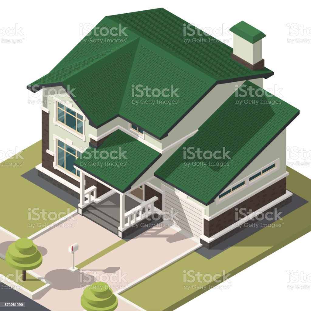 Family House Isometry. Hyper Detailing Isometric View Of The House. 3D  Object For Video