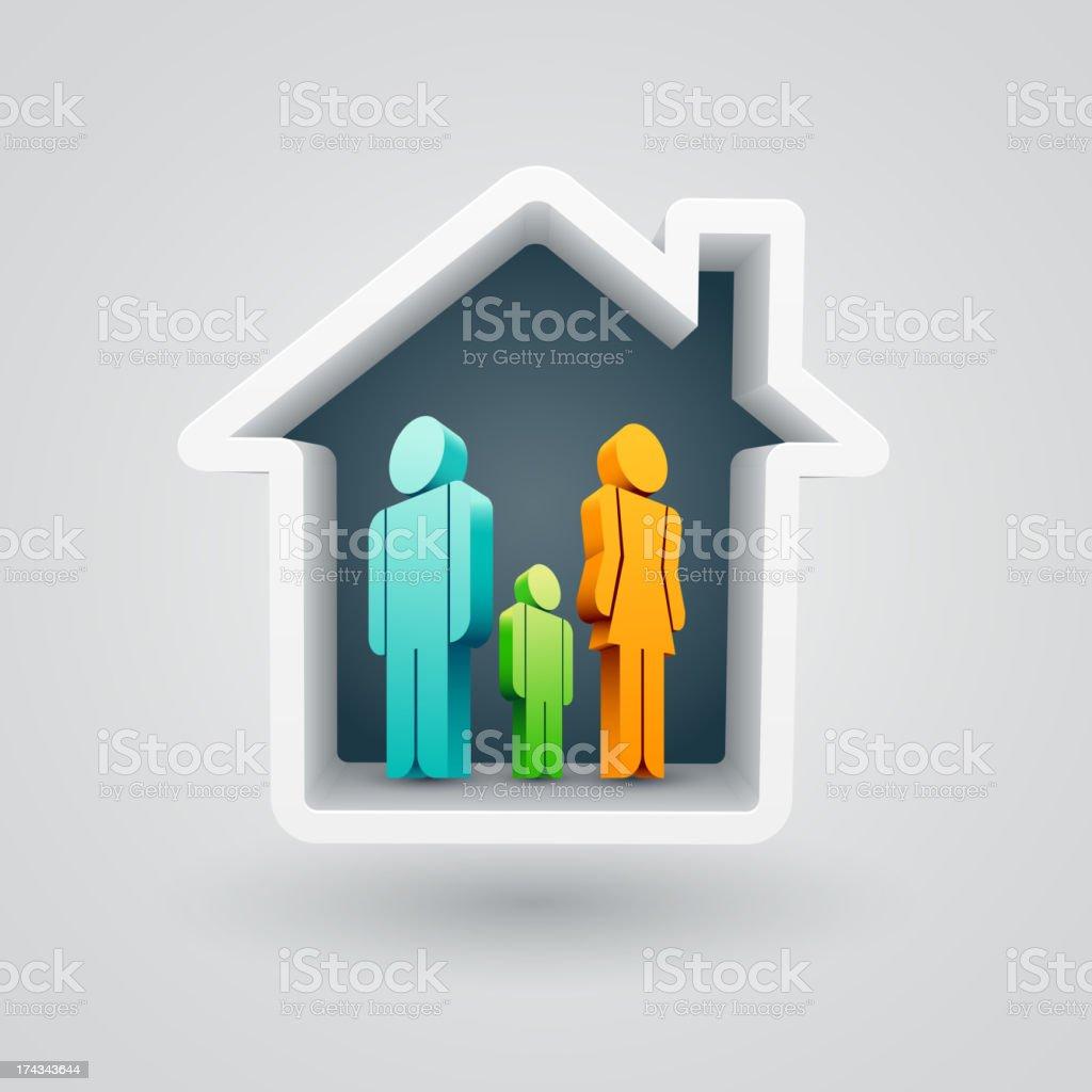 Family house vector art illustration