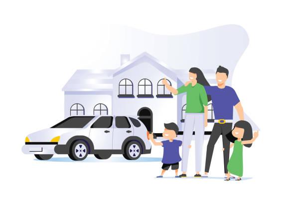 illustrazioni stock, clip art, cartoni animati e icone di tendenza di family house vector illustration. flat tiny modern property person concept. real estate exterior with parents, children. - real life
