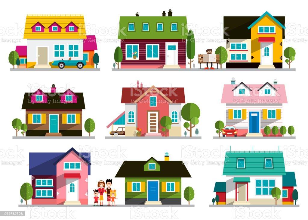 Einfamilienhäuser-Symbole - Lizenzfrei Architektur Vektorgrafik