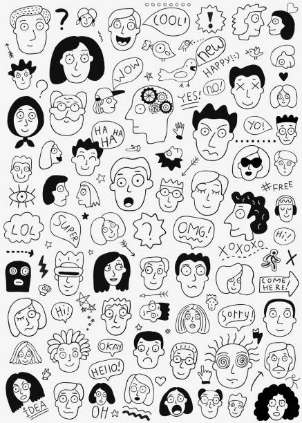 family, human face - doodle set ,pencil drawings - old man crying stock illustrations, clip art, cartoons, & icons