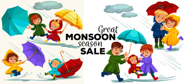 family husband and wife walking rain with umbrella in hands, raindrops dripping into puddles, dad and mom holding baby by hand, couple in love under raining clouds vector illustration - kids playing in rain stock illustrations, clip art, cartoons, & icons