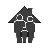 Family icon. Father, mother and son under the roof of the house. Vector on a white background