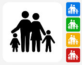 Family Icon. This 100% royalty free vector illustration features the main icon pictured in black inside a white square. The alternative color options in blue, green, yellow and red are on the right of the icon and are arranged in a vertical column.