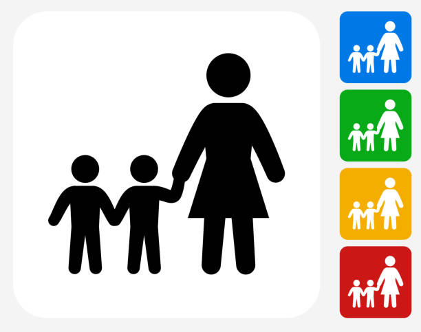 family icon flat graphic design - single mother stock illustrations