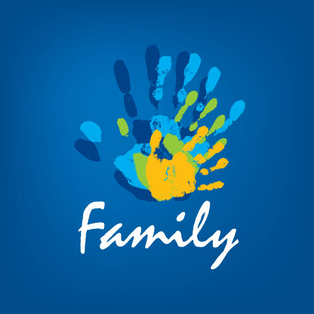 Family icon in the form of hands. Vector illustration Family icon in the form of hands. Vector illustration. parenting stock illustrations