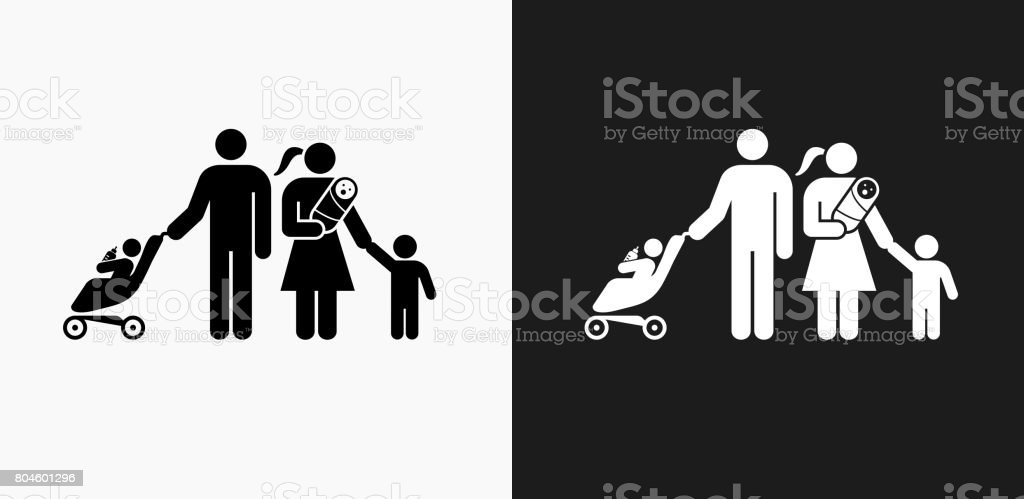 family icon on black and white vector backgrounds stock vector art