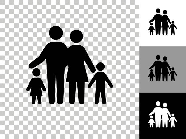 Family Icon on Checkerboard Transparent Background vector art illustration