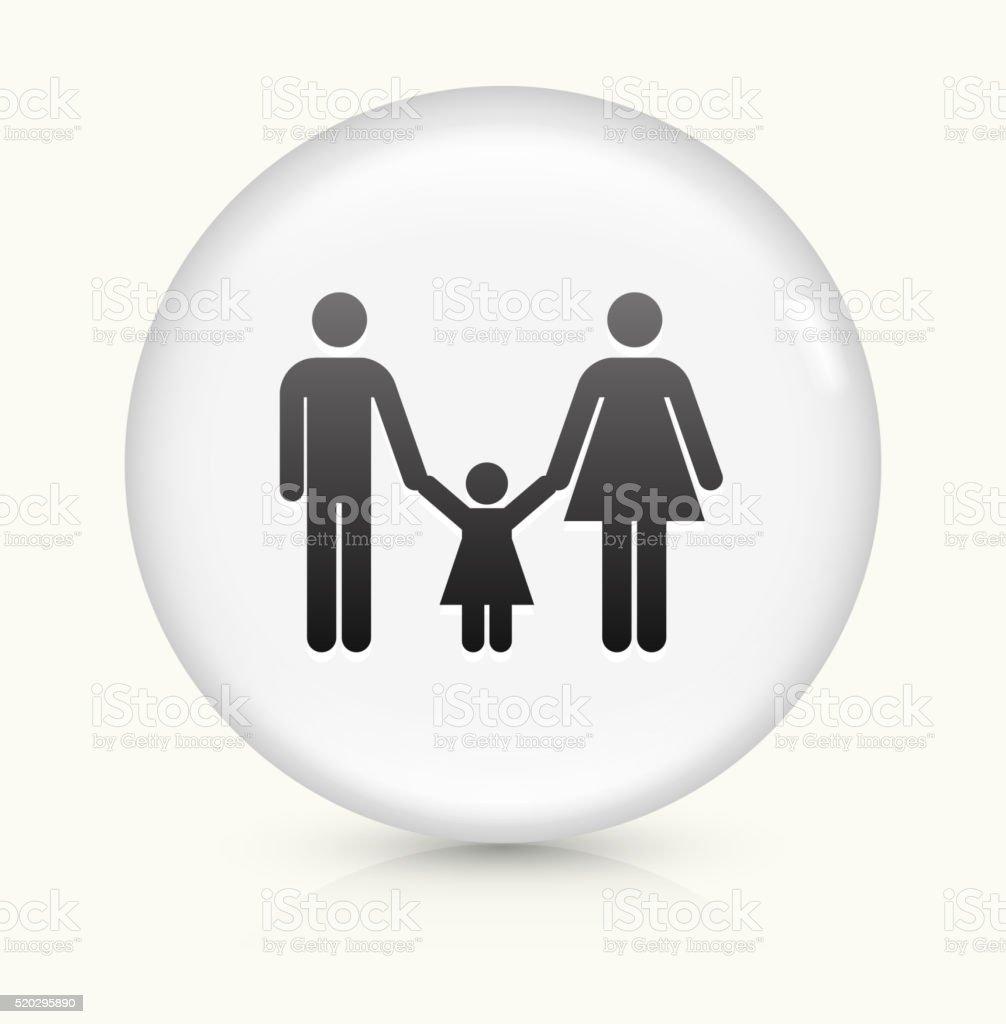 Famille icône sur blanc vecteur rond bouton - Illustration vectorielle