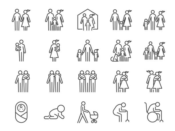 family icon set. included icons as people, parents, home, child, children, pet and more. - family stock illustrations