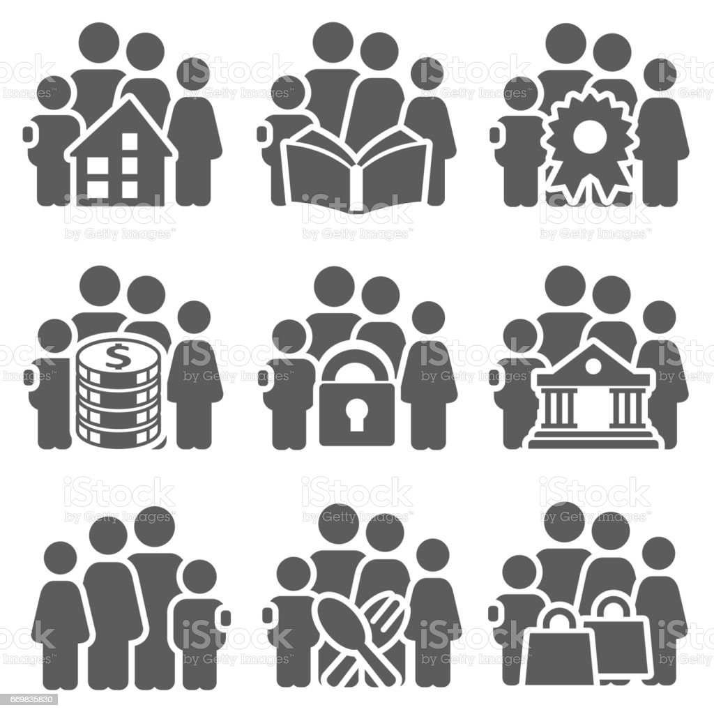 Family icon set vector art illustration