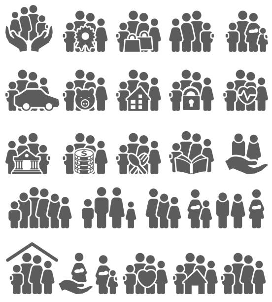 Family icon set Family icon set , vector illustration indian family stock illustrations