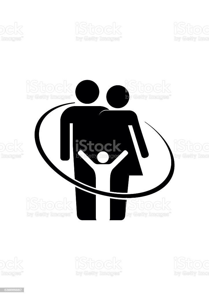 Familie Symbol Kleines Kind Frau Und Mann Paar Stock Vektor Art Und