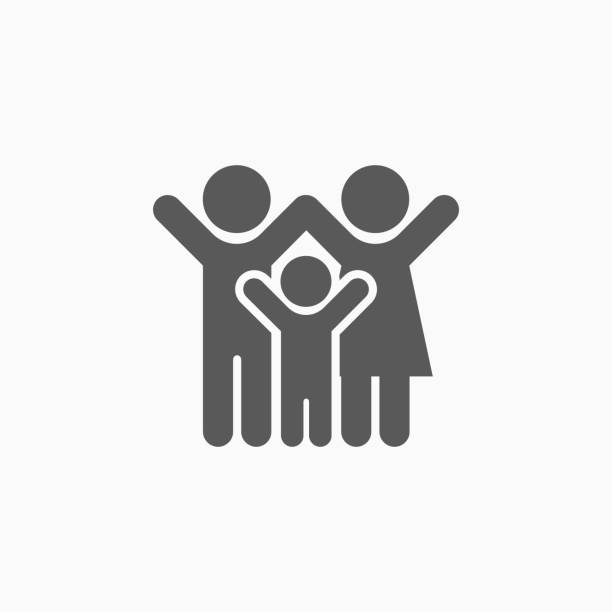 family icon - happy family stock illustrations