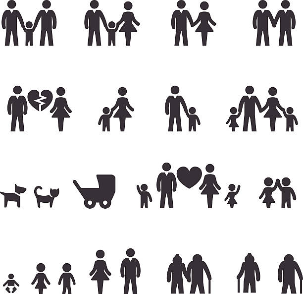 family icons - acme series - part of a series stock illustrations, clip art, cartoons, & icons