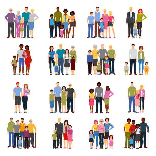 Familiensymbole flach – Vektorgrafik