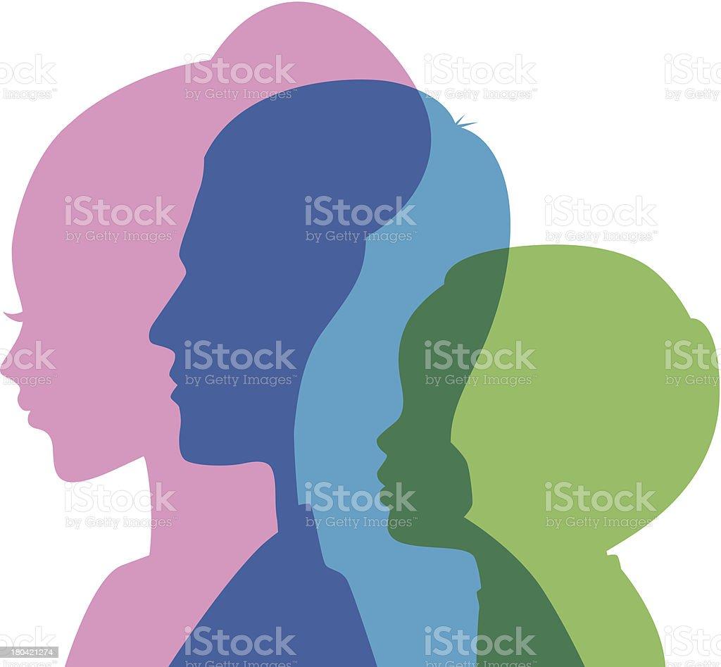 Family icons head vector art illustration